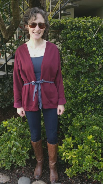 Sweatshirt Refashion- Tie Waist Cardigan (with No-Sew Option!)