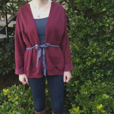 Sweatshirt Refashion- Tie Waist Cardigan (with No-Sew Option!)